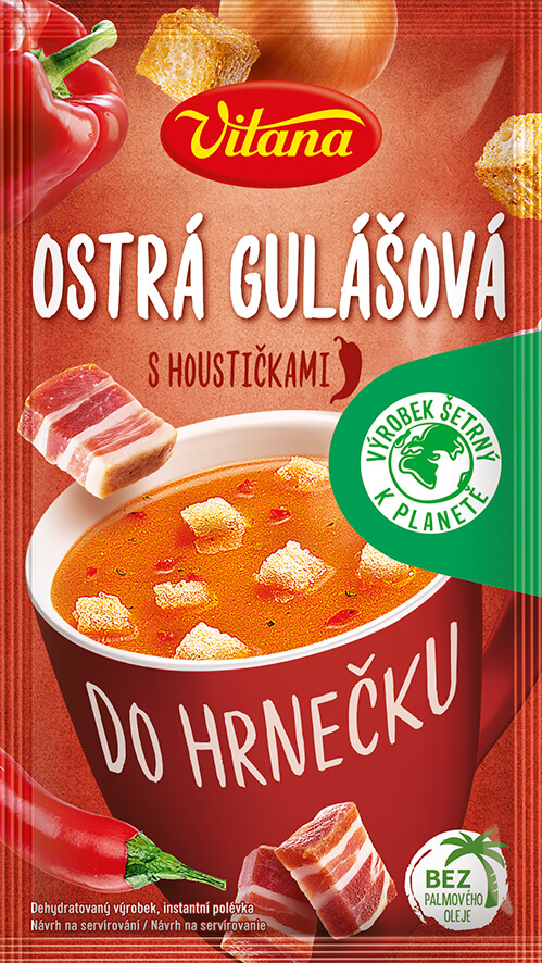 Spicy goulash soup with croutons